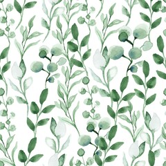 Fototapeta Watercolor seamless pattern with green leafs and branches. Hand drawn summer textile decoration botanical floral illustration.