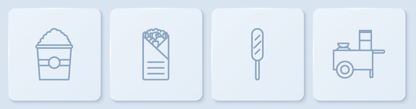Set line Popcorn in box, Corn dog, Doner kebab and Fast street food cart. White square button. Vector