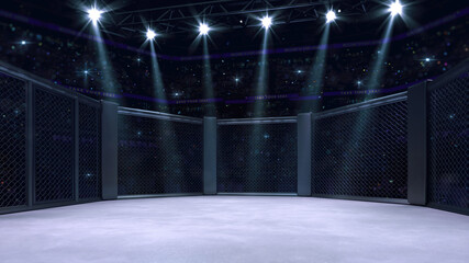 In the fighting cage with entry doorway on left. Interior view of fighting arena with fans and shining spotlights. Digital sport 3D illustration.