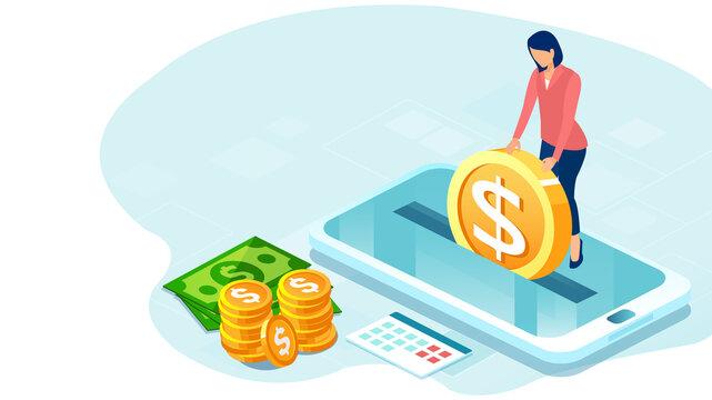 Vector of a businesswoman making money deposit via mobile app