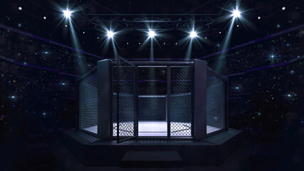 Cage fight arena with entry doorway. Interior view of fighting arena with fans and shining spotlights. Digital sport 3D illustration.