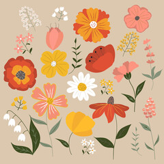 Fototapeta Set of summer flowers and herbs. Red, yellow, pink and white buds on beige background. Vector illustration in flat style