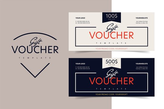 Gift voucher, discount certificate or shop invitation promo. Shopping present coupon or special vector card with different value, brand company name and elegant design illustration