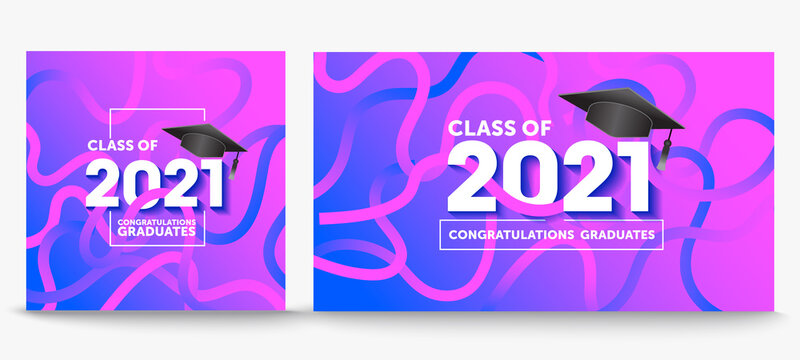 Class of 2021. Congrats Graduates. Lettering Graduation logo. Template for graduation design, party, high school or college graduate, yearbook,Vector illustration EPS.10