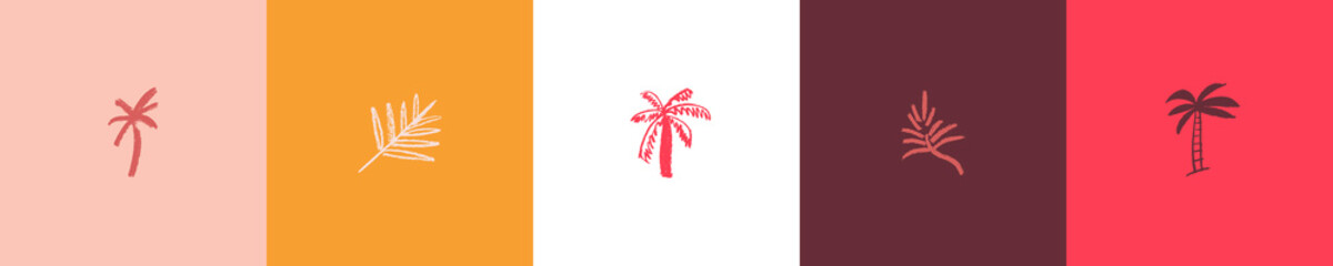 Fototapeta Hand drawn palm tree icon for label of natural organic cosmetics, travel company logo, vector hotel sign, emblem tropical products. Vector isolated palm leaf symbol, tropical sign with pencil texture.