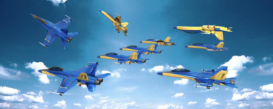 3d Kunstflug, Formationsflug mit Kampfjet am Himmel