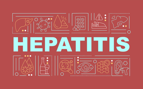Hepatitis word concepts banner. Liver failure, damage. Inflammatory condition. Infographics with linear icons on red background. Isolated typography. Vector outline RGB color illustration