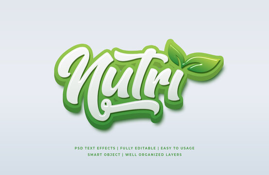 Natural 3d text style effect mockup