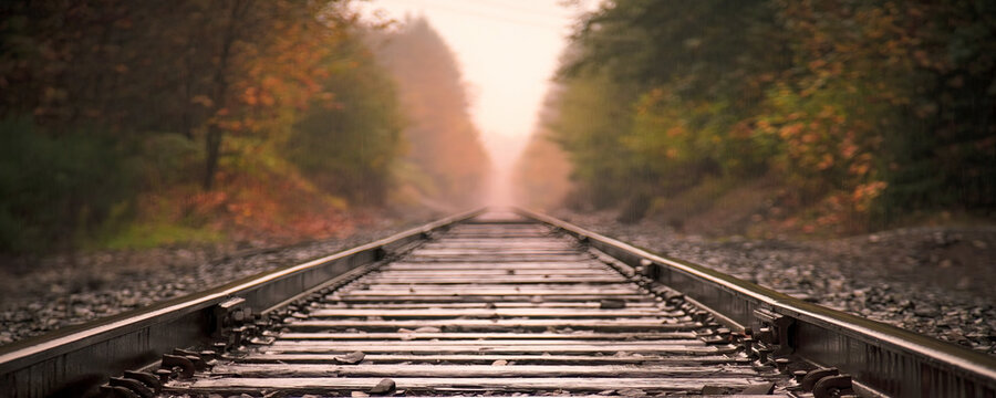 Railway track in the evening in the sunset