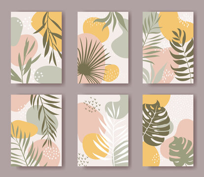 Set of vector cards with abstract ornament and leaves