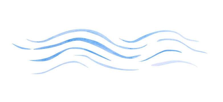 Watercolor wavy lines isolated on a white background. Sea waves clipart. Blue wave illustration for your design.