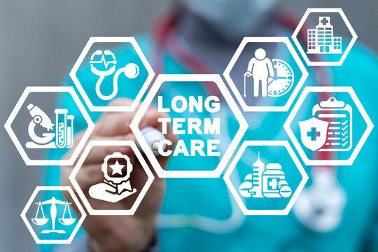 Concept of long-term care. Elderly patient medical insurance service and healthcare.