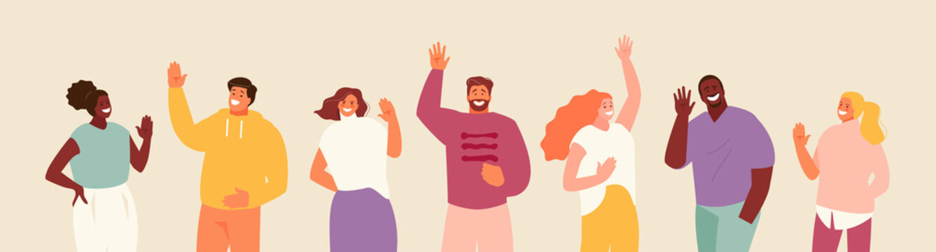 Group of friendly people talking hello. Welcome gestures welcome vector illustration