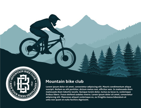 Vector mountain biking illustration with a cyclist, mountains and pines