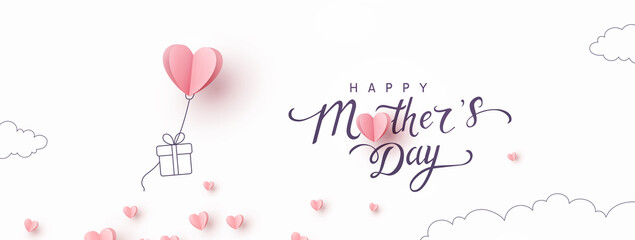 Fototapeta Mother's day postcard with paper flying elements and gift box on white sky background. Vector symbols of love in shape of heart for greeting card design