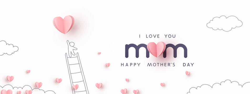 Mother's Day postcard with pink flying elements and man on white sky background. Vector paper symbols of love in shape of heart for greeting card design