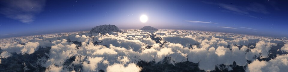 Fototapeta Cloudy landscape from a height of flight at sunrise, 3D rendering