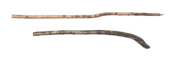 Fototapeta wooden spear isolated on white background