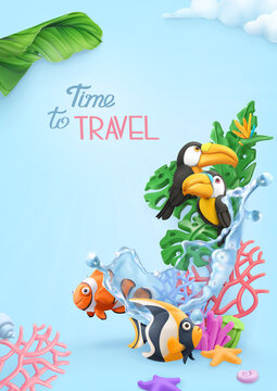 Time to travel background. 3d vector realistic illustration. Tropical jungle, coral reef, toucans, fish