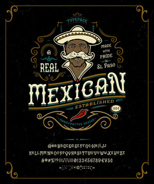 Font Mexican. Craft retro vintage typeface design.