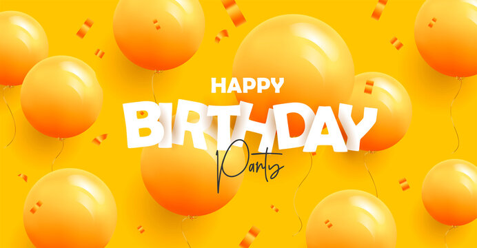 Happy birthday greeting banner with modern 3d mono color yellow balloons on yellow background with confetti