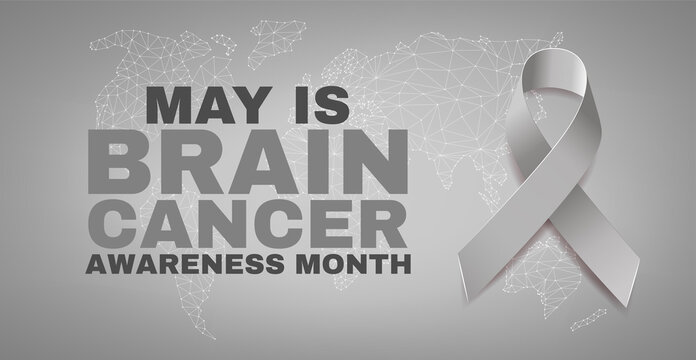 Brain cancer awareness month concept. Banner with text and grey ribbon.  Vector illustration. .