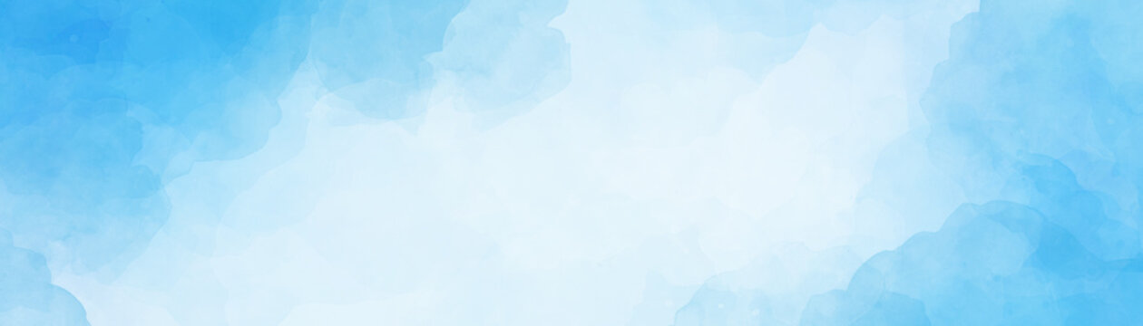 Pastel blue and white watercolor background design with soft texture and abstract cloudy border illustration