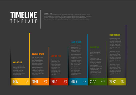Infographic Dark Timeline Template with Blocks