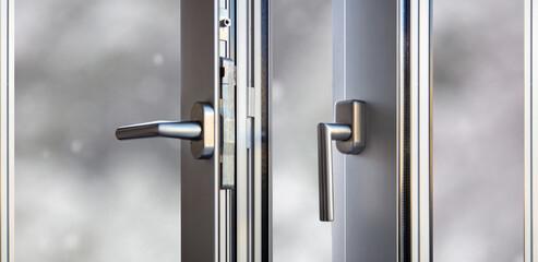 Fototapeta Aluminum door window open closeup view, blurry background obraz