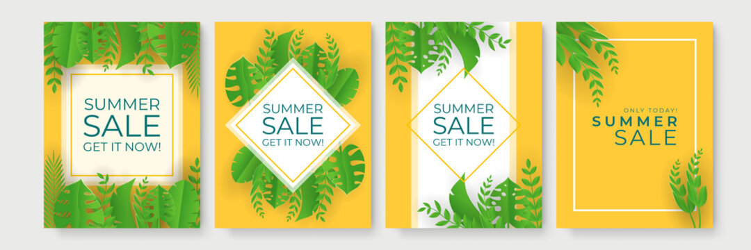 Summer sale vector illustration with green floral and leave in paper cut style for mobile and social media banner, poster, shopping ads, marketing material