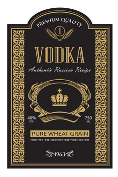 template vodka label with royal crown and ears of wheat in retro style