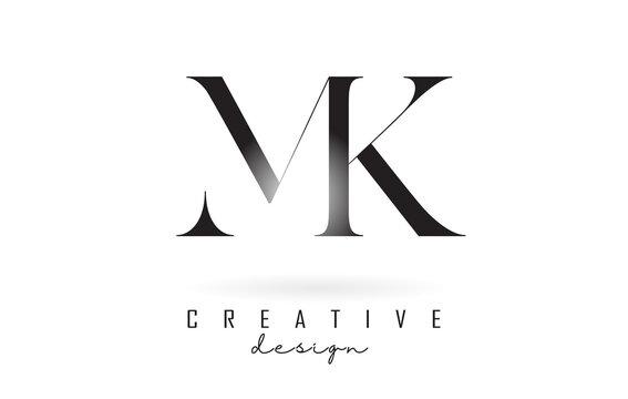 MK m k letter design logo logotype concept with serif font and elegant style vector illustration.