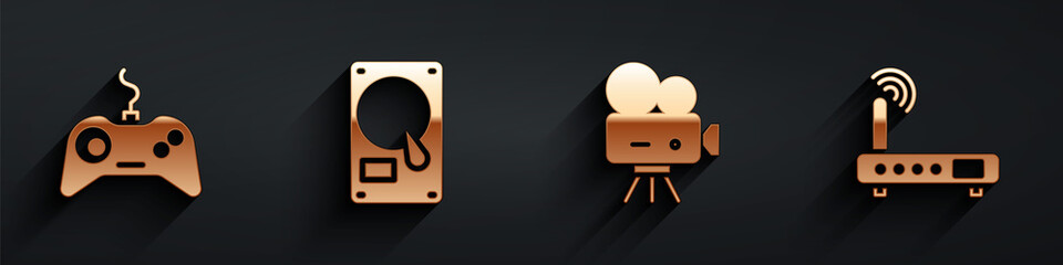 Fototapeta Set Gamepad, Hard disk drive HDD, Retro cinema camera and Router and wi-fi signal icon with long shadow. Vector