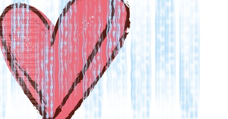 Rain falling from the sky on a red heart,program coding and technology concept