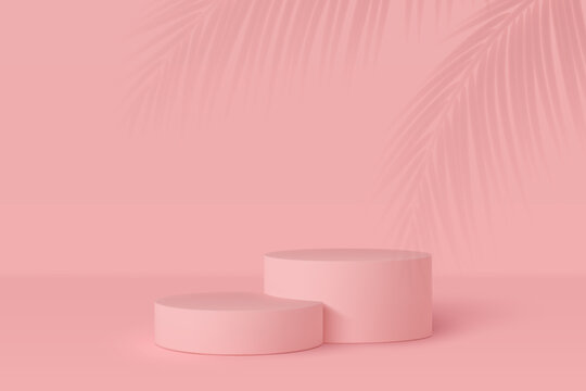 3d podium scene with palm leaves shadow. Mockup for product presentation with copy space. Winner pedestal in studio, minimal background in pink or coral color. Vector illustration.