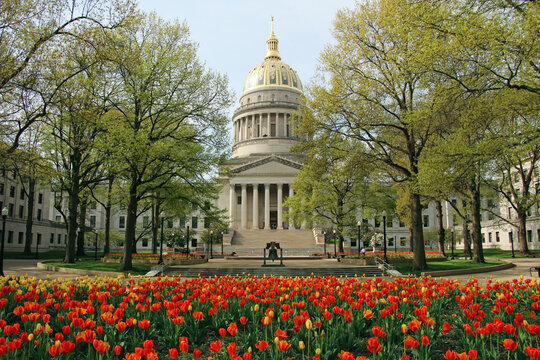 The West Virginia State Capitol looks beautiful surrounded by spring tulips in Charleston.