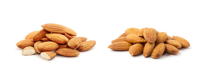 Fototapeta Heap of almond nuts isolated on white background