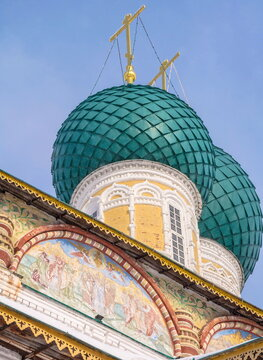 Domes and frescoes of the Cathedral of the Resurrection of Christ in Tutaev