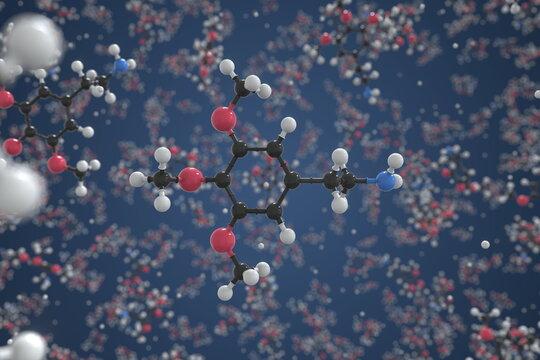 Mescaline molecule, scientific molecular model, 3d rendering