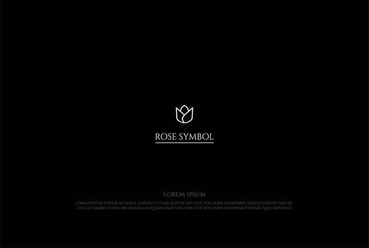 Beauty Elegant Luxury Simple Minimalist Rose or Lotus Flower Logo Design Vector