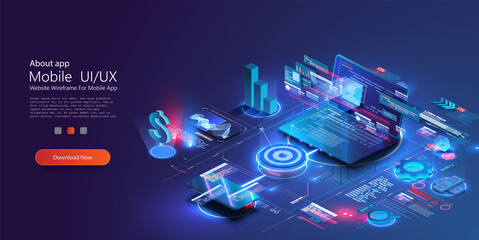 Fototapeta Financial management concept. Application of Smartphone and laptop with business graph and analytics data. Data analysis for the company's marketing decisions or financial indicators. Vector isometric