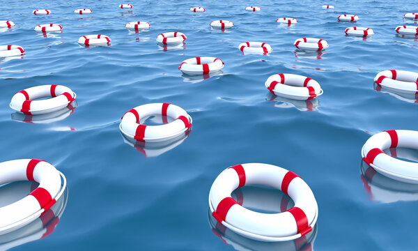 Life buoys, Life savers on the ocean, 3D illustration.