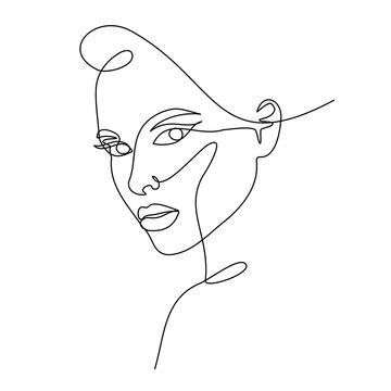 Fashion lineart portrait of young beautiful woman