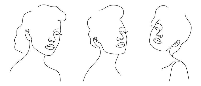 Fashion lineart portraits of young beautiful women