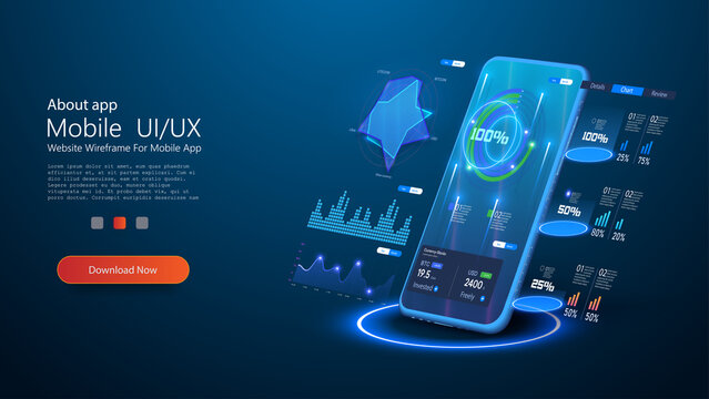 Application of smartphone with business graph and analytics data. Adaptive UI, UX, KIT. Futuristic phone controls stock market forex trading graph. Network financial investment economic trends. Vector
