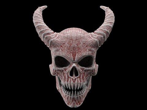 Demon skull with horns with sharp teeth