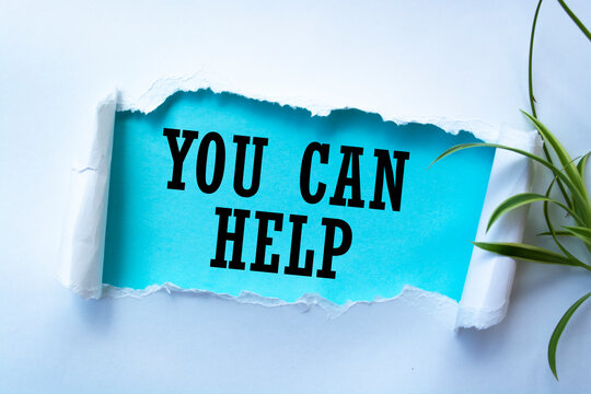 Text sign showing you can help