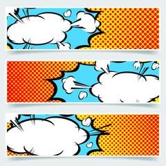 Yellow background pop-art explosion bubble set - comics book. Vector illustration