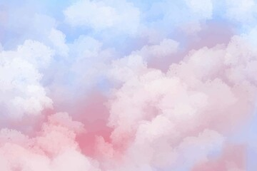 Fototapeta Hand painted watercolor pastel sky cloud background obraz