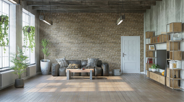 Industrial style of living room with grungy walls, loft style, 3d render